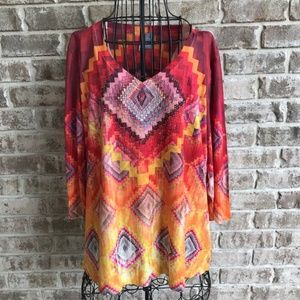 New Directions Woman Weekend Top Size 1X Southwest
